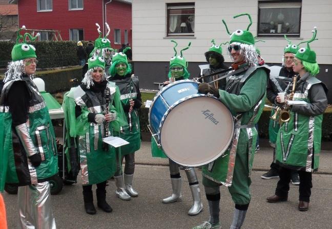Fasching Aufstellung des Musikvereins Bilfingen