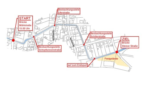 Entenrennen-Musikverein-Bilfingen-Route